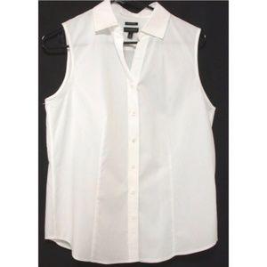Talbots Classic White Sleeveless Button Front 12P